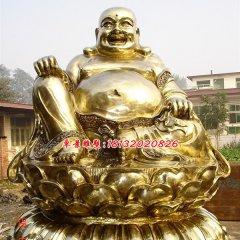 彌勒佛貼金銅雕,大肚彌勒佛雕塑