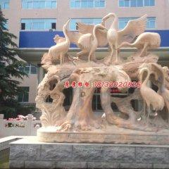 仙鶴石雕,晚霞紅丹頂鶴雕塑