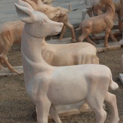 小鹿石雕,晚霞紅小鹿石雕