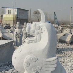 獨角獸石雕,漢白玉神獸石雕