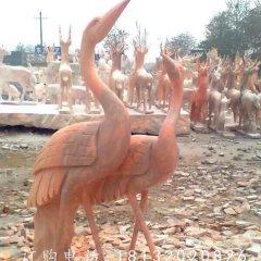 丹頂鶴雕塑,晚霞紅仙鶴動物石雕