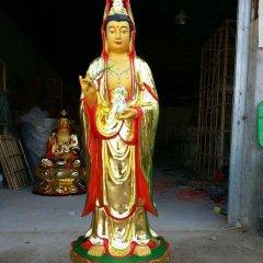 觀音菩薩銅雕,銅雕彩繪觀音雕塑