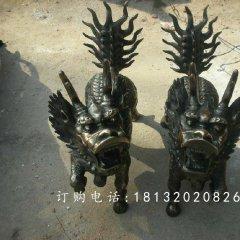 麒麟銅雕,小型青銅麒麟