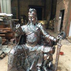 關公讀春秋銅雕,坐著的關公銅雕