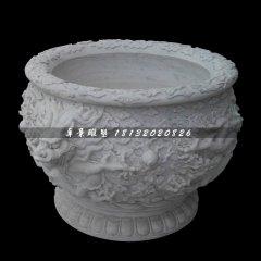 圓形石,漢白玉龍浮雕水盆