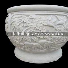 白色石頭水缸,漢白玉石水缸