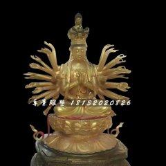千手觀音銅雕,坐式佛像雕塑