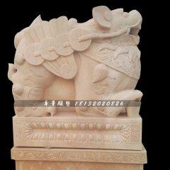 招財貔貅雕塑,晚霞紅貔貅石雕