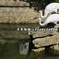 丹頂鶴石雕,公園動物石雕