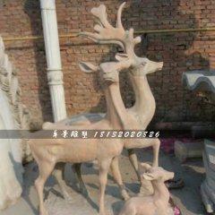 三只鹿石雕,晚霞紅動物雕塑