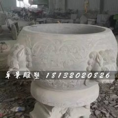 水缸石雕,大理石仿古水缸
