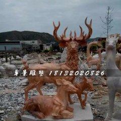 晚霞紅鹿石雕,公園動物石雕