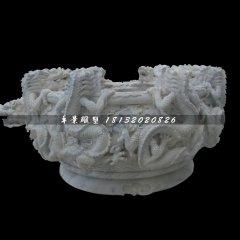 龙浮雕水缸,仿古石水缸