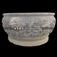 龙浮雕水缸,青石水缸