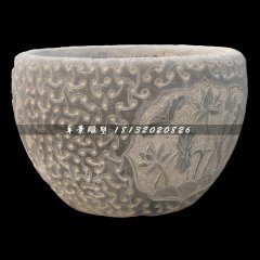 水缸石雕,青石水盆