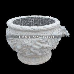 水缸石雕,圆形水缸石雕