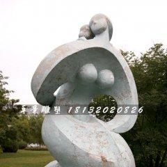公園抽象人物石雕,母子情深石雕