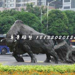 開荒牛銅雕,動物銅雕