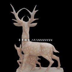 梅花鹿石雕,晚霞紅動物石雕