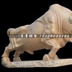 石雕牛,拓荒牛石雕,晚霞紅牛雕塑