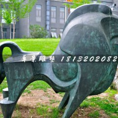 青銅牛,公園抽象動物雕塑