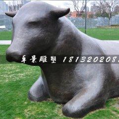 臥著的牛銅雕,公園抽象動物雕塑