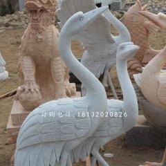 兩只丹頂鶴雕塑漢白玉仙鶴石雕