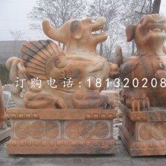 晚霞紅石雕貔貅招財進寶神獸雕塑