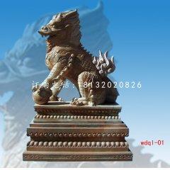 踩球麒麟雕塑晚霞紅石雕麒麟