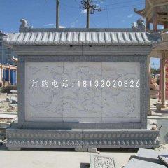 松鹤延年石浮雕影壁,广场石影壁