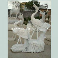 松鹤延年石雕,汉白玉仙鹤雕塑