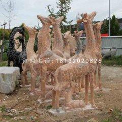 長頸鹿石雕,公園晚霞紅動物雕塑
