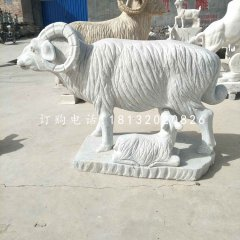 羊羔跪乳石雕,漢白玉動物雕塑