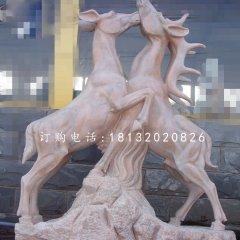 兩只鹿石雕,晚霞紅動物雕塑