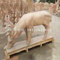 小鹿吃草石雕,晚霞紅動物雕塑