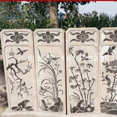 梅蘭竹菊石浮雕,屏風石雕