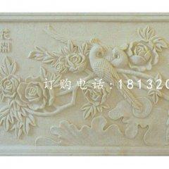花開富貴石浮雕,砂巖浮雕