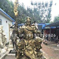 坐式銅關公,鑄銅關公雕塑