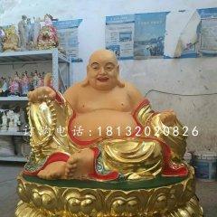 大肚弥勒佛雕塑玻璃钢贴金佛像