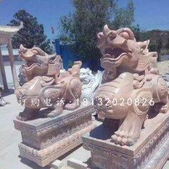 招財貔貅雕塑晚霞紅神獸石雕
