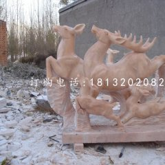 梅花鹿石雕晚霞紅動物雕塑