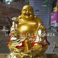 弥勒佛雕塑玻璃钢贴金佛像