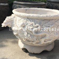 龙浮雕水缸,圆形石水缸