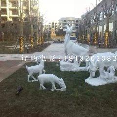 漢白玉山羊石雕小區景觀動物雕塑