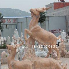 石雕三羊開泰晚霞紅動物雕塑