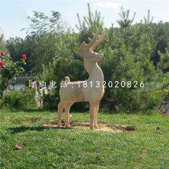 小鹿石雕,晚霞紅動物雕塑