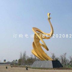 抽象孔雀雕塑,不锈钢景观雕塑