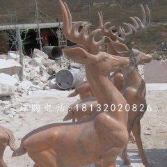 晚霞紅小鹿雕塑,公園小鹿石雕