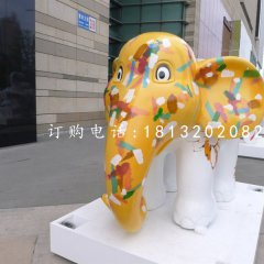 卡通動物擺件,玻璃鋼彩繪小象