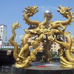龙戏珠雕塑,铜龙雕塑
